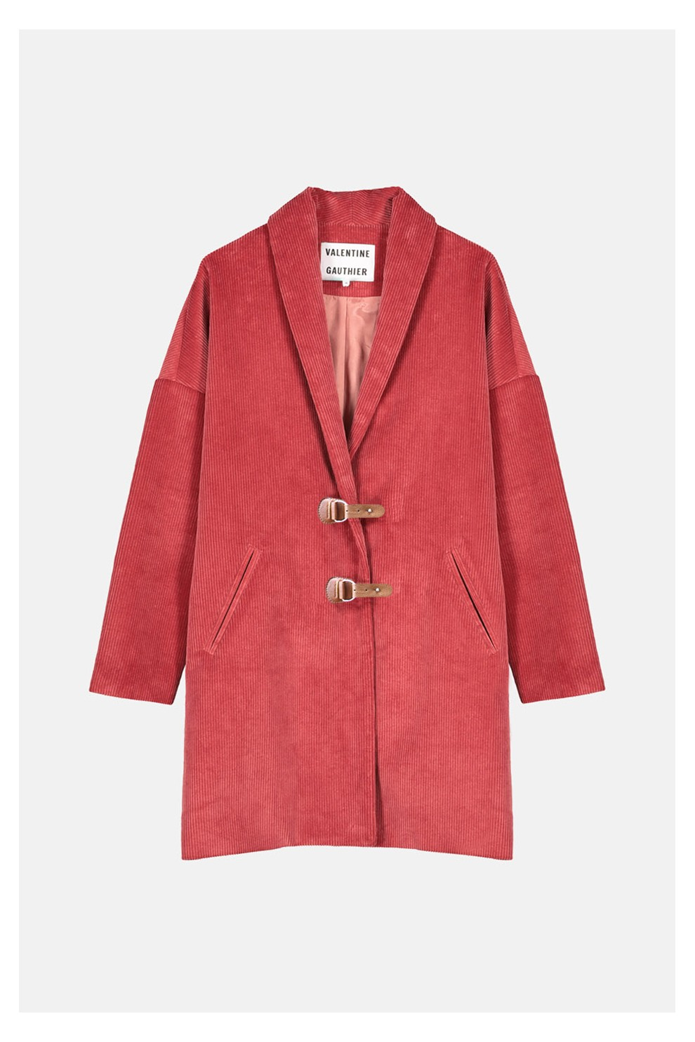 Camellia colored corduroy coat from Valentine Gauthier