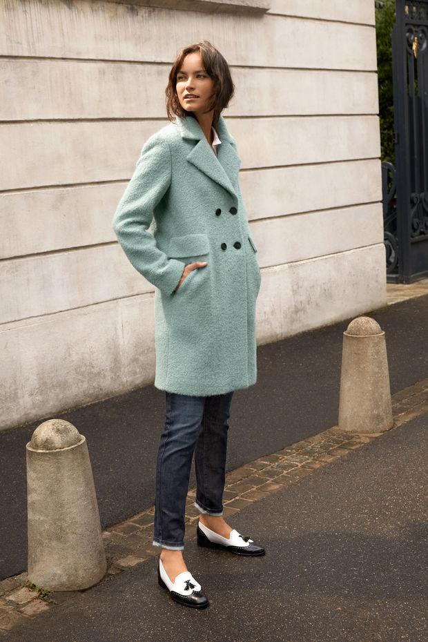 Mint green coat from Caroll