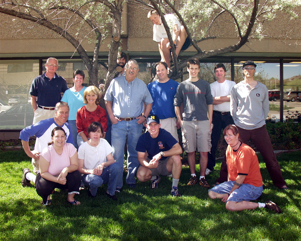 2005 PS Audio crew and Sean McGowan in the tree