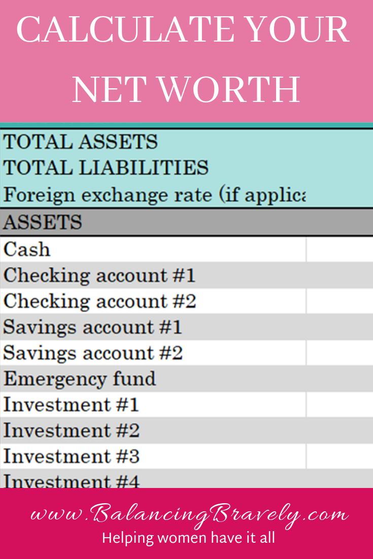 Net worth calculator, financial freedom, worksheet, spreadsheet, excel