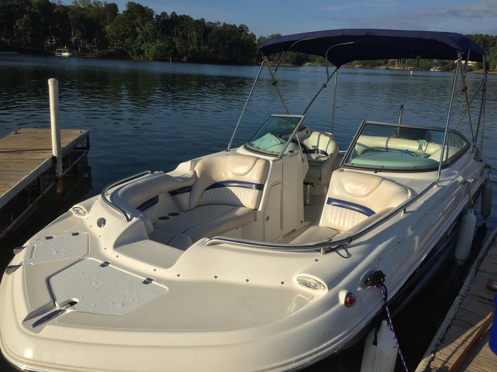 21' Hurricane Sundeck - One of our most powerful boats, the Sundeck is perfect for large parties who want to go fast, and enjoy water sports at the same time. Seats up to 10.