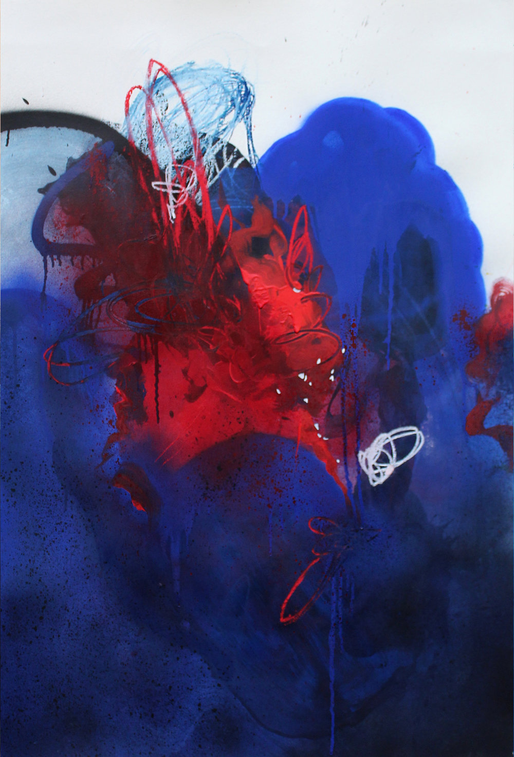 """""""Hit"""", Mix media on paper, 110x72cm, 2018   ~   Request Availability"""