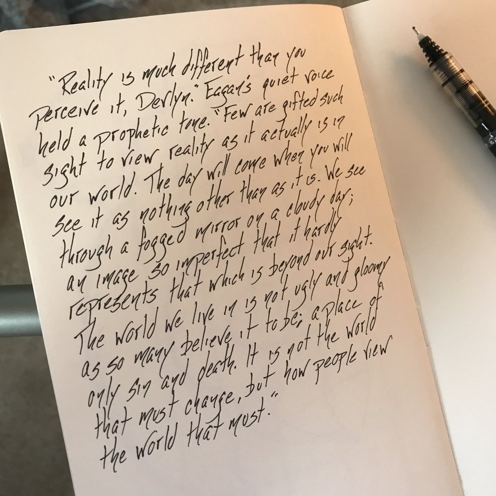 Writing Process - While much of the story is written on the computer now, Ryan D Gebhart often carries his sketchbook for the rare occasion when inspiration strikes.