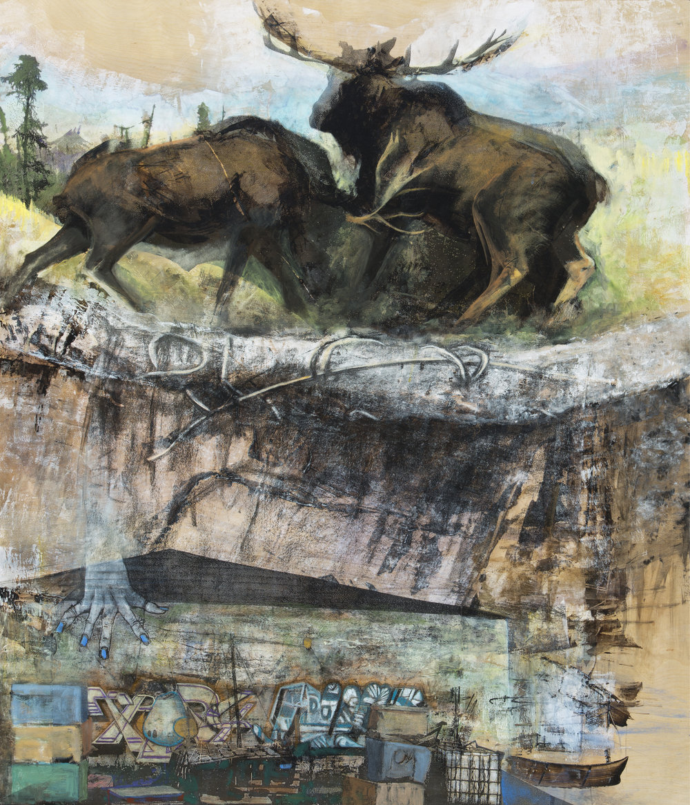 "North American Moose (A.a.americanus)  Mixed Media on Wood (48"" x 36"")"