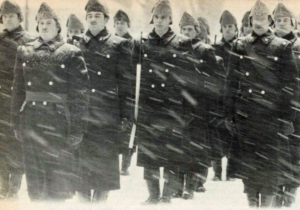 ty pile and bruce nelms on parade during a snowstorm
