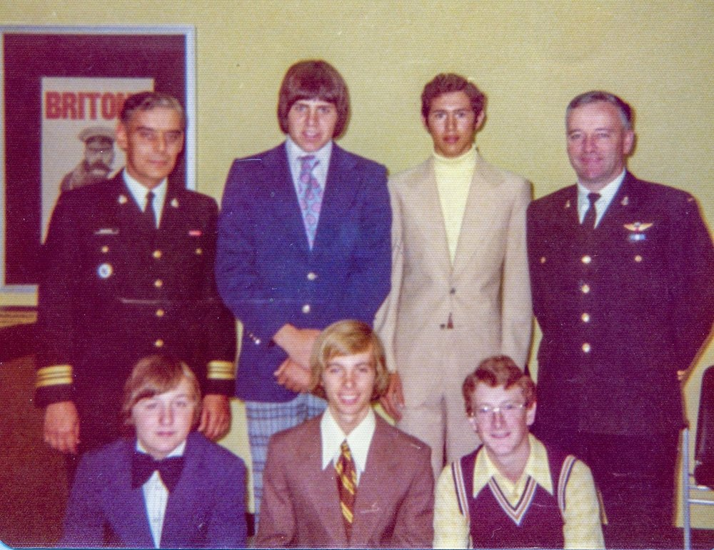 Recruitment Ceremony Kamloops, BC.   Rear: Manson (a Golden Gloves boxer); richard groves,  Front row. TBC; John Carr, Mike Kennedy