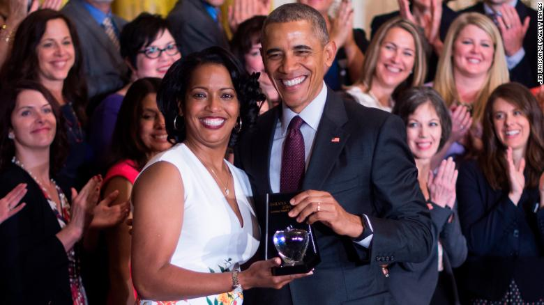 Jahana Hayes receiving the National Teacher of the Year Award from President Obama in 2016.