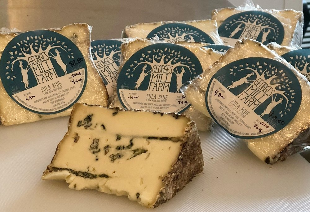 Eula Blue , a raw milk blue cheese, aged 70 days in our cheese cave  Available May-December