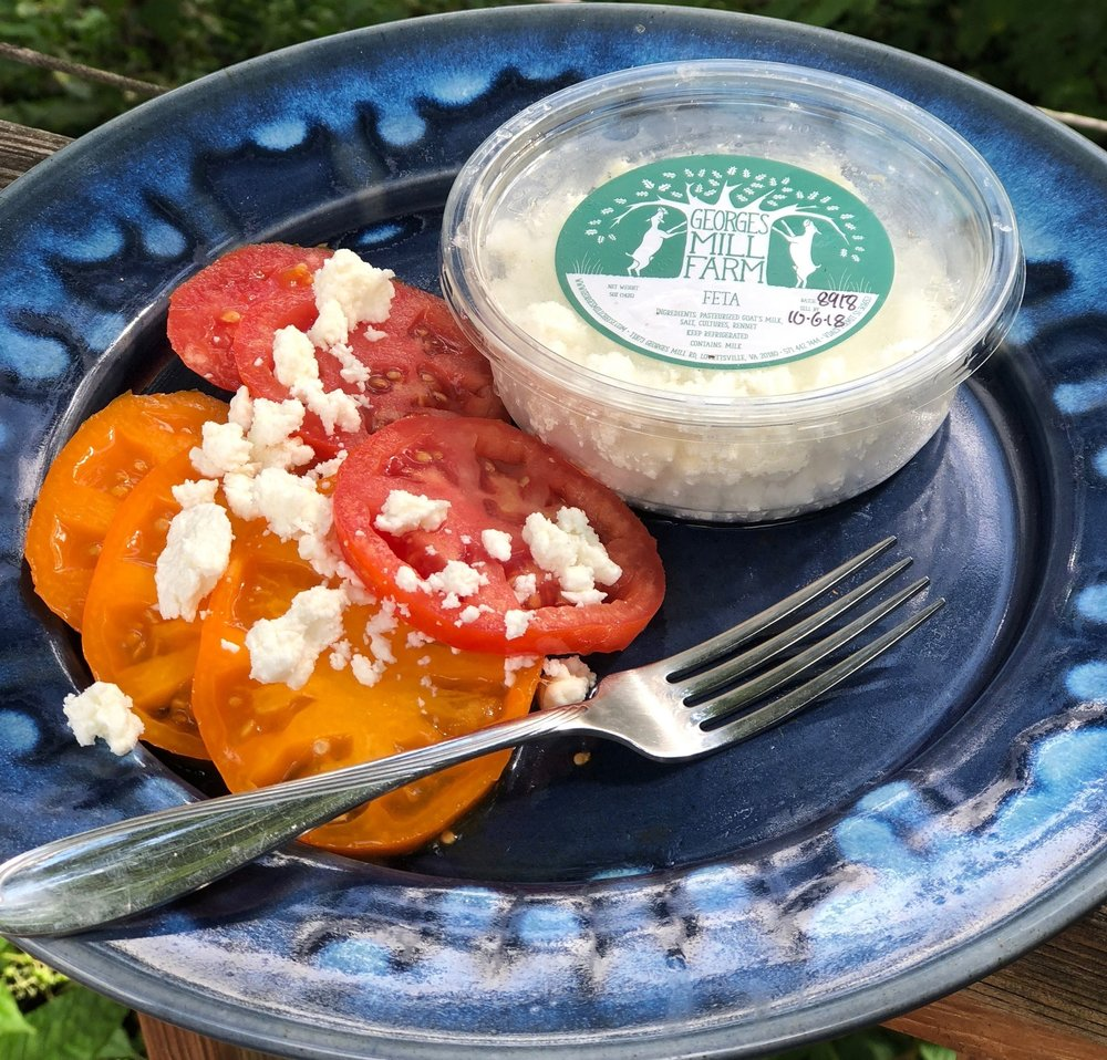 Feta , a Greek style feta- creamy, tangy and salty!   Available April-January