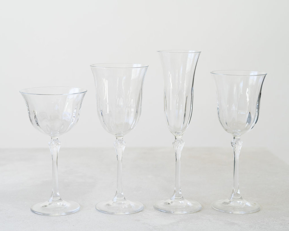 Champagne Coupe    Water Goblet    Champagne Flute    Wine