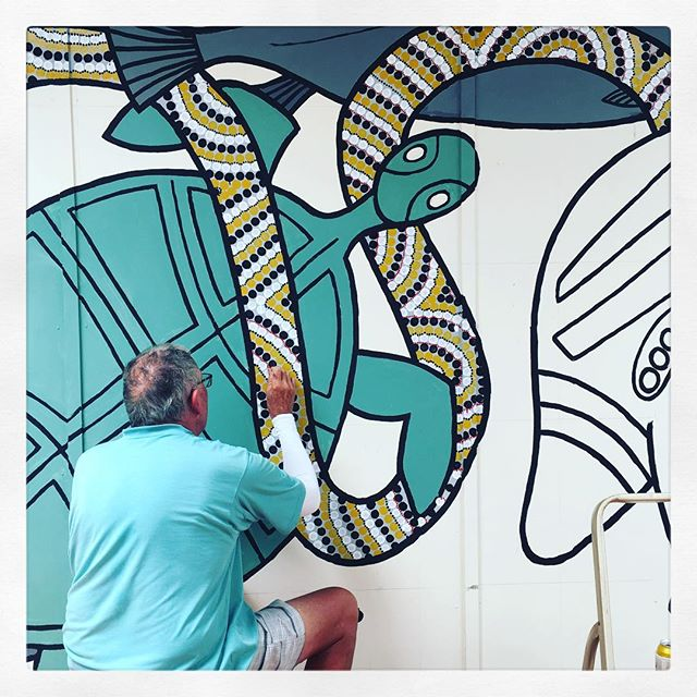 My super talented father in law knocking out a quick mural over the holidays, just because he can #streetart #mural #aboriginalart #totem #aboriginal