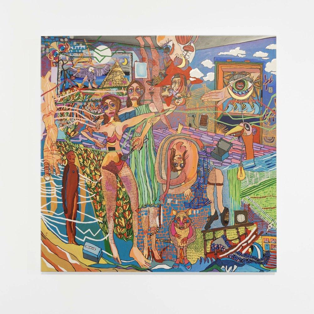 Amy Mizrahi, A Dream Upon Waking, 2018 (Acrylic Paint on Canvas, 100 x 100 cm  Radical Residency II, Unit 1 Gallery | Workshop, 23 October – 29 October,    unit1gallery-workshop.com  .
