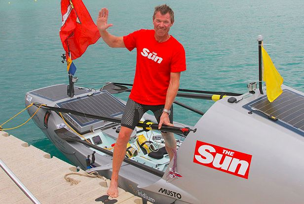 Charlie at the end of his 2013 world record-breaking Atlantic crossing