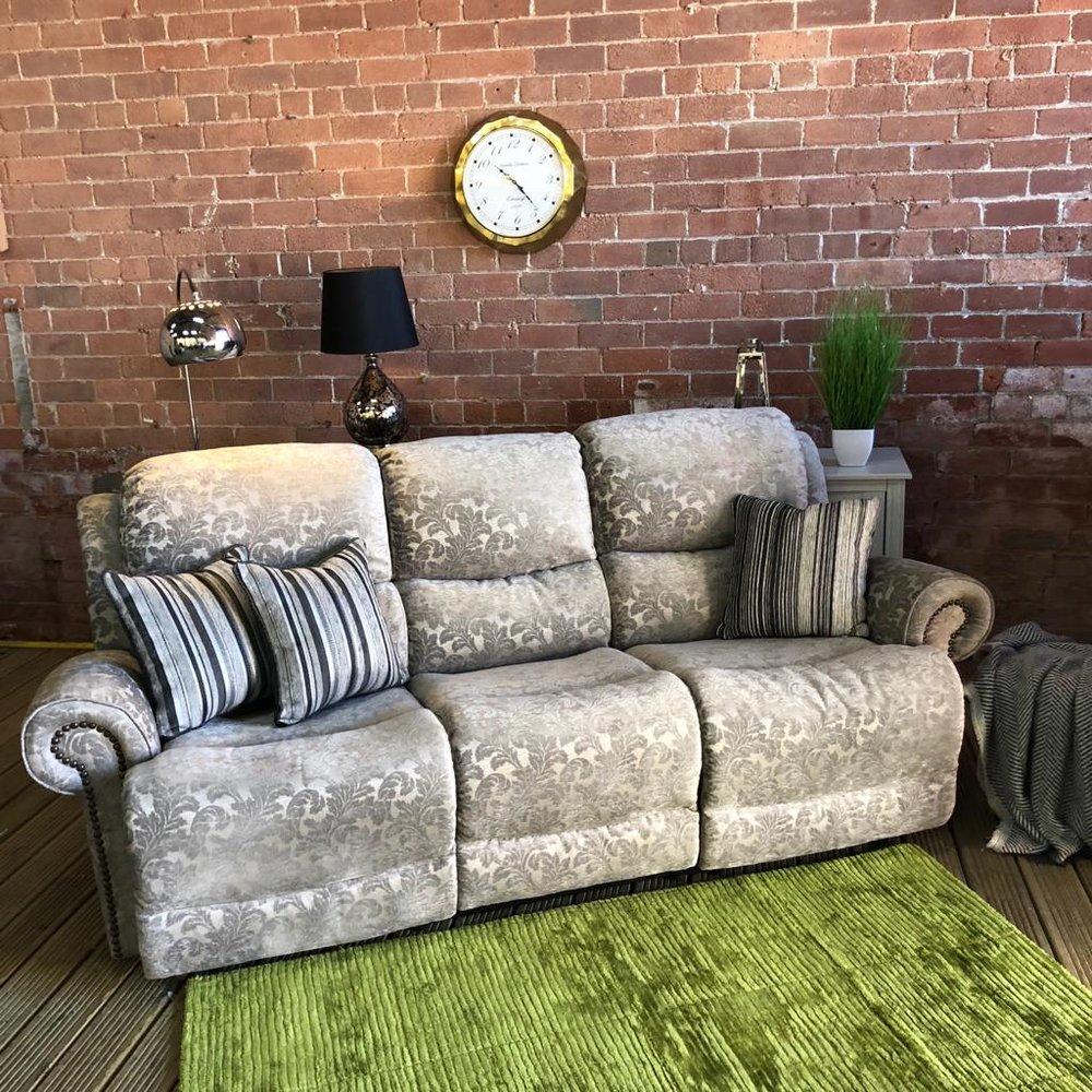 Grey Flower Pattern Recliner | Three Seater Sofa