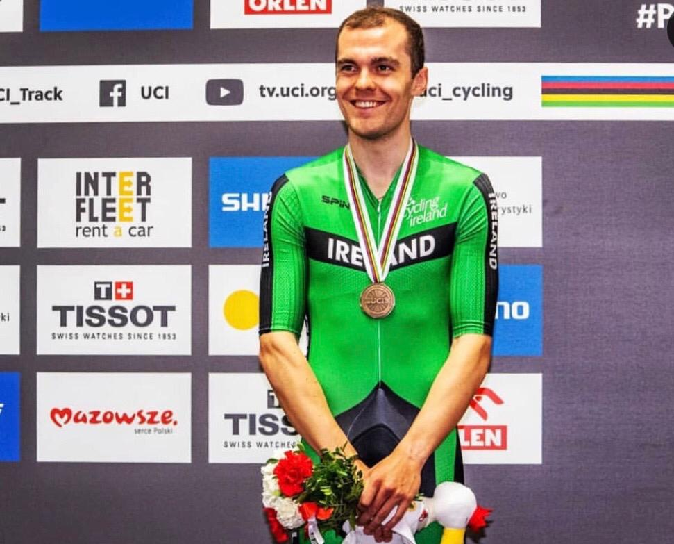 "Irishman Mark Downey Podium World Track Champs - Poland  - ""Mark Downey"" One word for that Madison ..... Brutal. At 59kph AVG speed. #💀 #RIP 📸: @drewkaplanphotography"