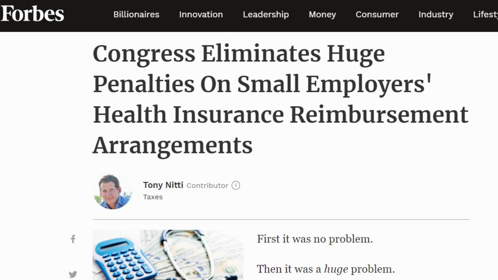 Congress Eliminates Huge Penalties On Small Employers' Health Insurance Reimbursement Arrangements