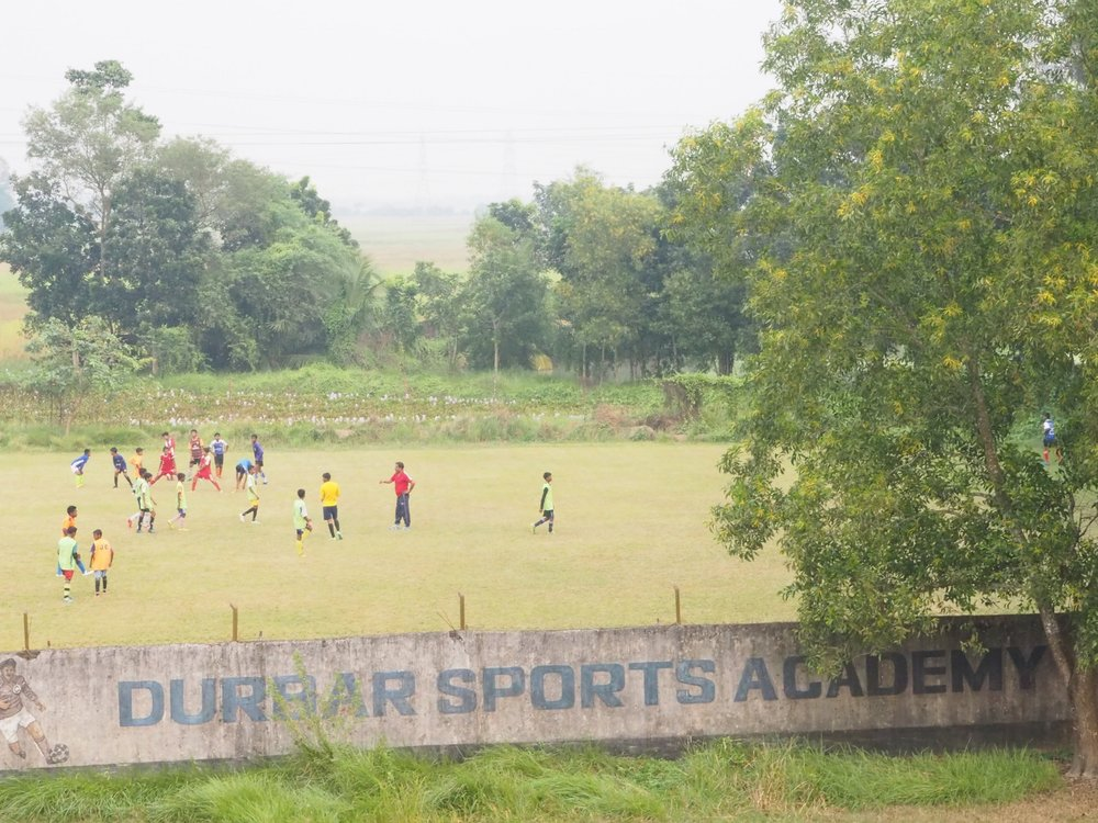 An aerial view of the football field at Baruipur.