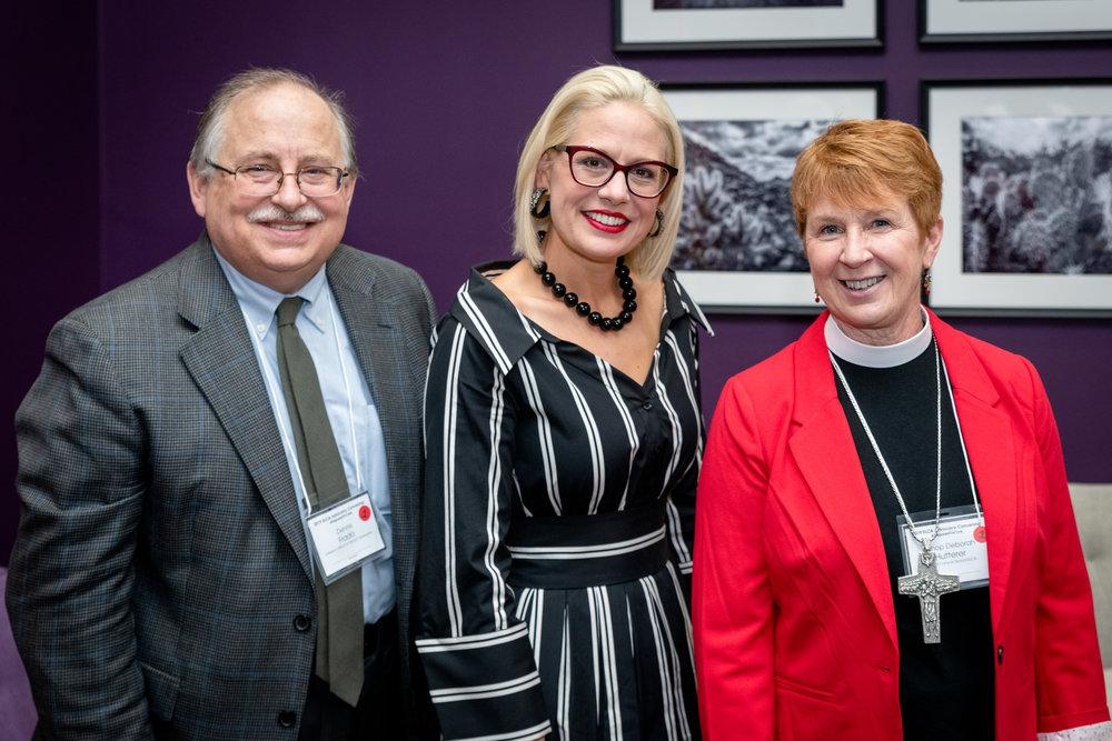 Bishop Deborah Hutterer with Senator Kyrsten Sinema and Dennis Frado of Lutheran Office for World Community.