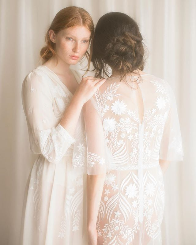 Embroidered wedding gowns worn without slips  #whiteonwhite #embroidery #embroideredweddingdress #bridalgown #modernbride #ethicalweddingdress #weddingdress #gettingmarried #bridetobe #dreamdress #ethicalfashion #londonbride #sustainablefashion #silkdress #madewithlove