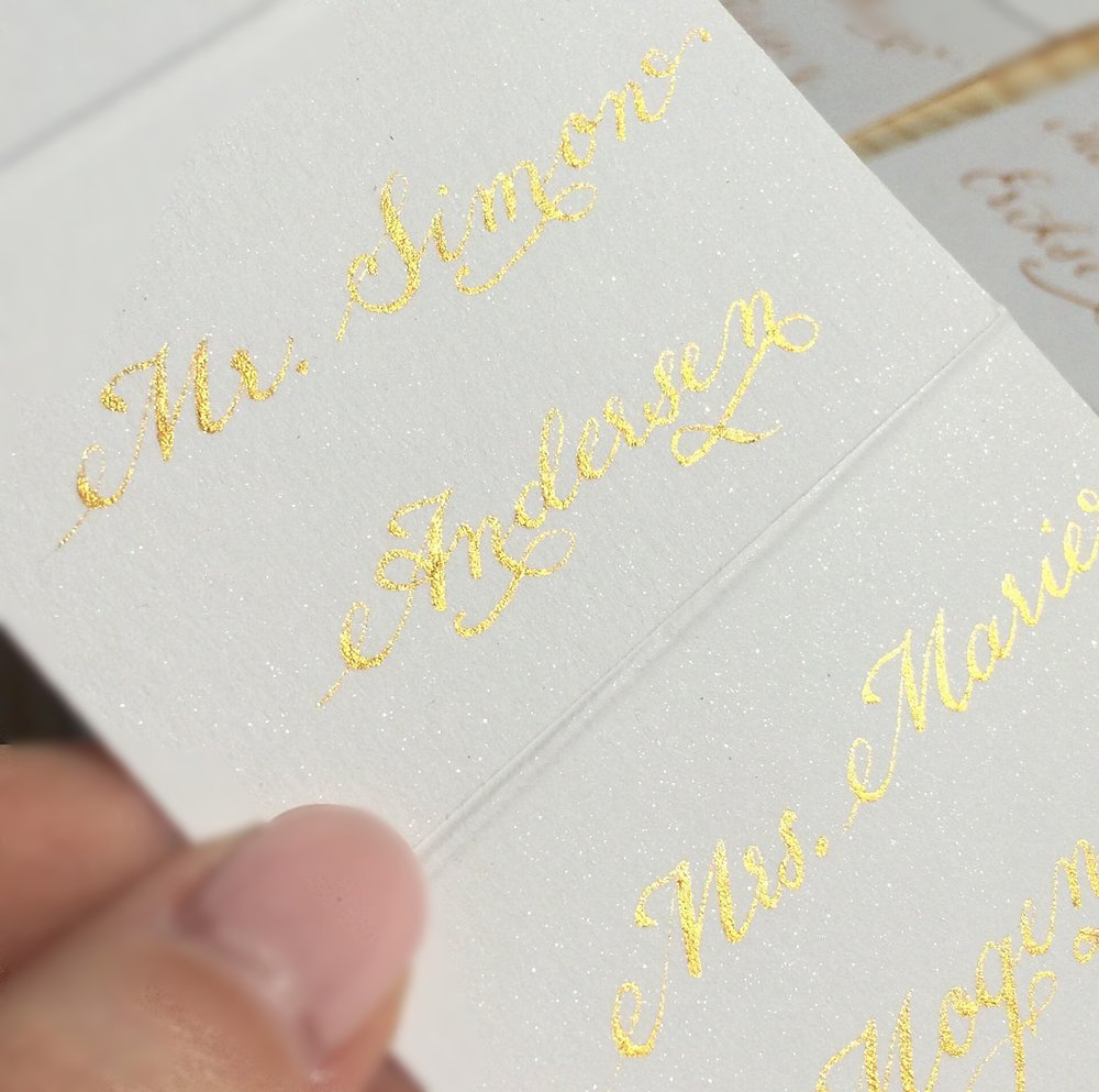 wedding table name cards, name tags, seating cards, personalized, gold ink calligraphy