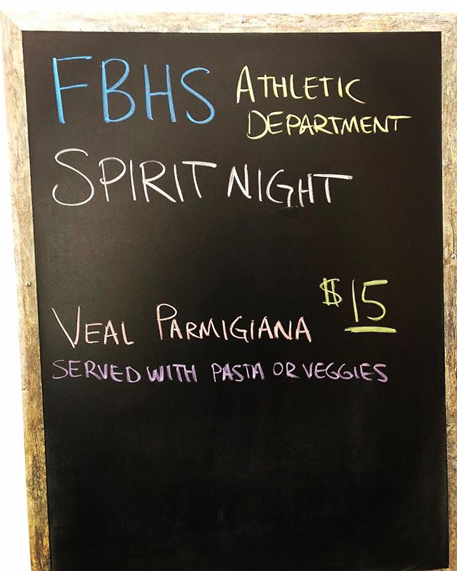 Come out tonight and support the FBHS Athletic department! Tonight a percentage of all proceeds will go back to the athletic department. You can also pick which sport you are there representing! Just let the hostess or your server know! 🏈🏀⚾️⚽️🏐🎾🏌️🏃♀️🏊🏻♀️🏋️♂️ #spiritnight  #supportlocal #fernandinabeachhighschool #athletics #eatlocal #italianfood #downtownamelia #ameliaisland