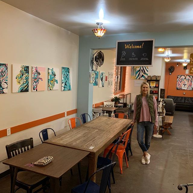 """My favorite coffee shop in San Francisco @philzcoffeenoe is featuring my art! Go check it out — and get yourself a """"philtered soul"""" — you'll thank me! #philzcoffee"""