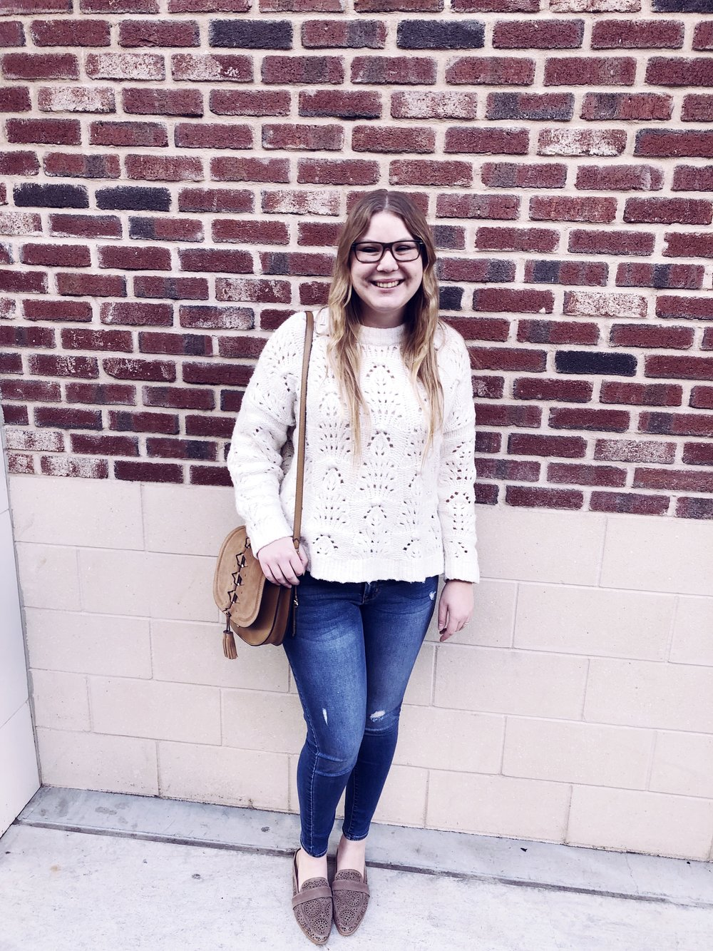 "Aerie sweater.    Old Navy jeans.    Vince Camuto bag.    Vince Camuto shoes.   Click  here  to listen to ""Woman"" by Mumford & Sons."