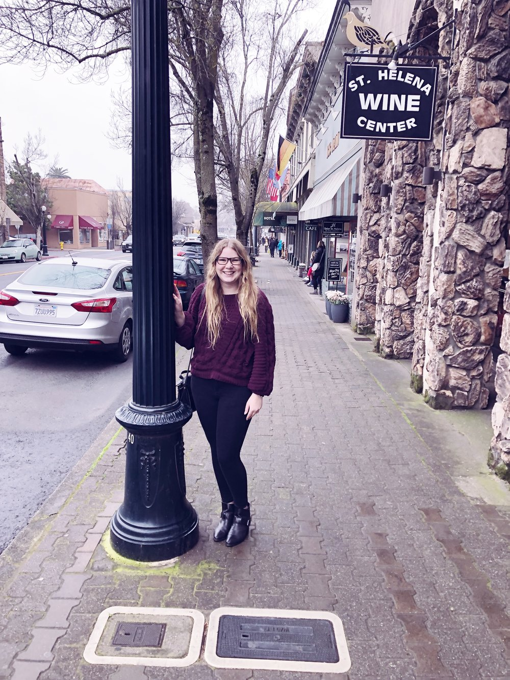 Stopped in St. Helena on our way home.  This town is full of cute boutiques, but unfortunately it had just started raining when we arrived so we didn't stay long.   Express sweater.    American Eagle jeans.    Aquatalia boots.    3.1 Phillip Lim for Target bag.