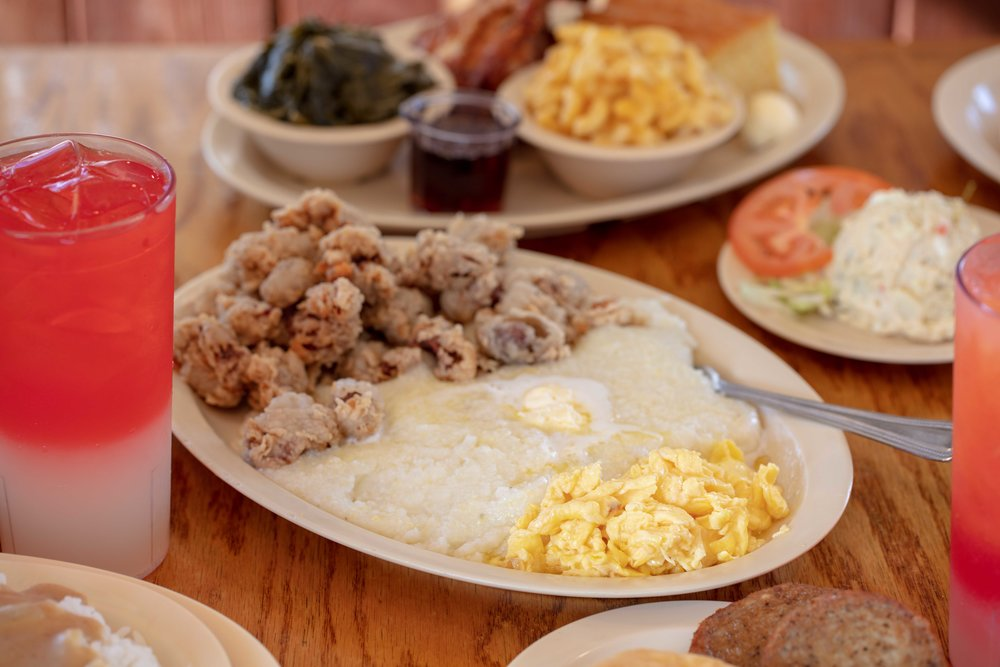 Chicken Livers with Grits and Eggs