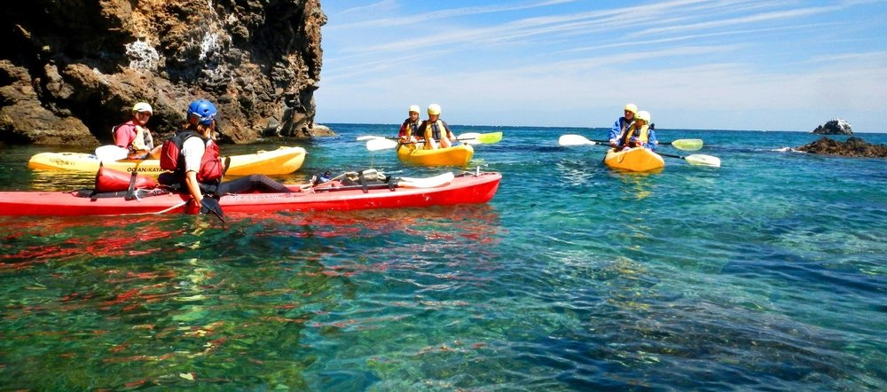 beautiful water and kayakers at Channel Islands National Park