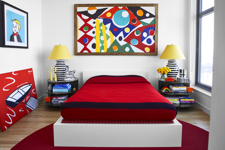 """Pied-a-Terre with a Punch! - Dive into the colorful world of Tony's NYC apartment. Primary hues packed with a ton of personality in a limited space. Click on the photo for the full story!"