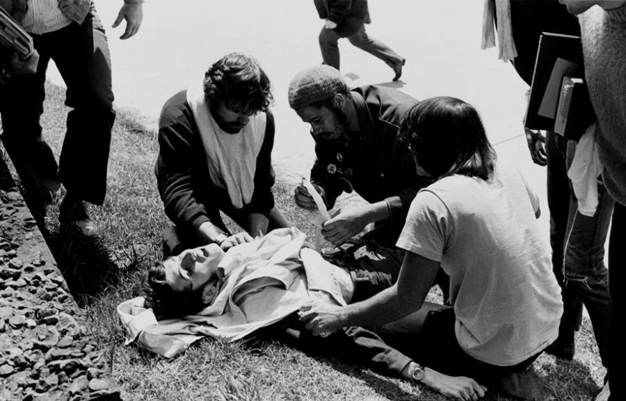 John Cleary was shot in the chest by a member of the Ohio Ntiona; Guard. He survived.  Howard Ruffman/Getty Images