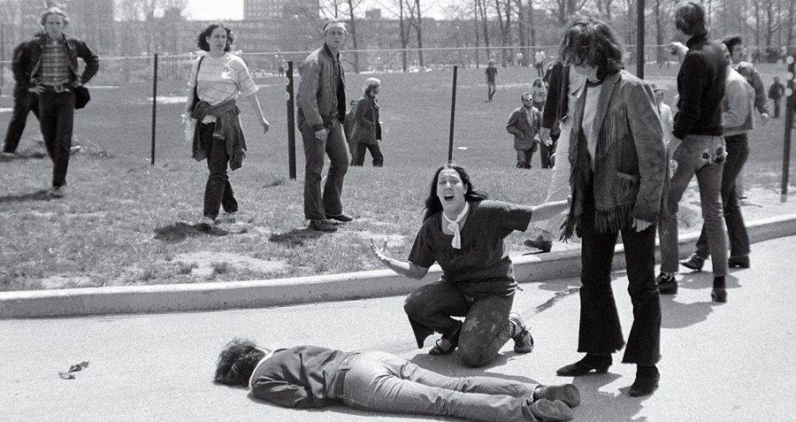 One of the most iconic and tragic photos of the 70s. A 14 year-old runaway named Mary Ann Vecchio kneels over the body of Jeffrey Miller, 20, who was shot and killed by the Ohio National Guard. The photo was taken by a student, John Paul Filo, who won a Pulitzer Prize for the photo in 1970.  John Paul Filo/Library of Congress