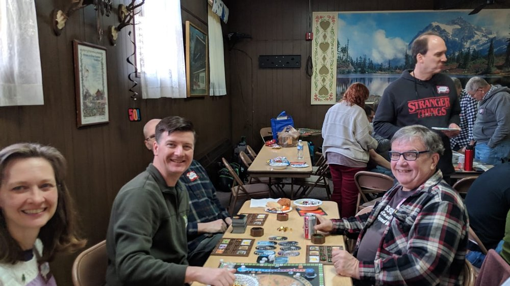 Mark and Carrie joined Dave and Charlie for a game of Terraforming Mars. They appeared to have every expansion.