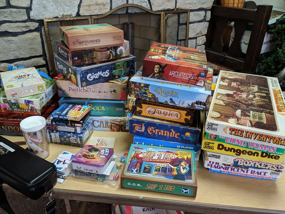 My pile of games we brought to start the library.
