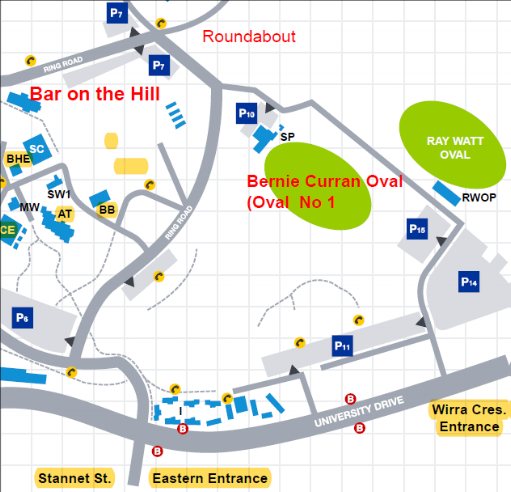 GAME DAY - GETTING THERE:There are 2 entry points off University Drive (see below):-Eastern Entrance – once you are in the Uni turn right at the give way sign onto the Ring Road-Wirra Crescent – follow the road around to the ground