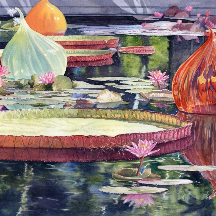 """Lilies and Glass Globes"" Watercolor by Lorraine Watry"