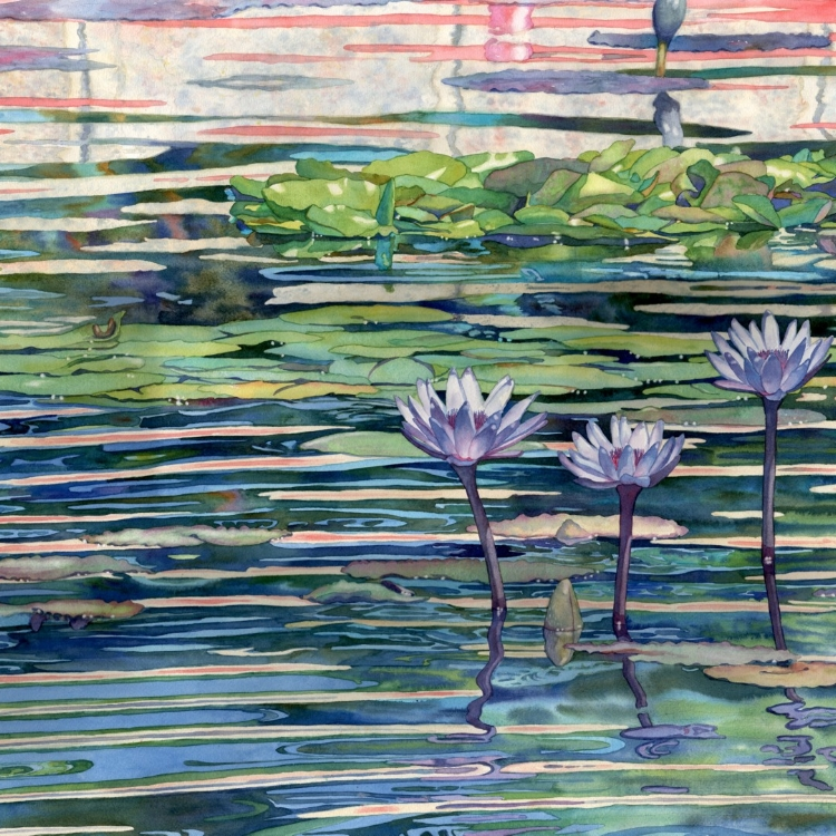 """Stained Glass Waterlilies"" Watercolor by Lorraine Watry"