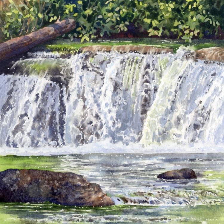 """""""Cascading Falls"""" Watercolor by Lorraine Watry"""
