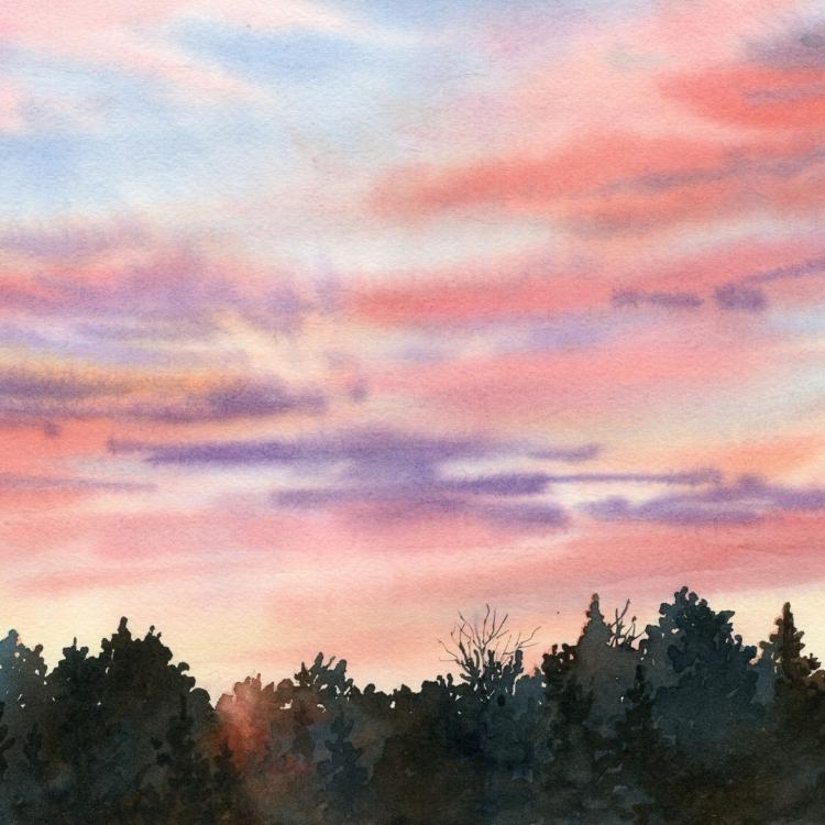 """""""Evening Glow"""" Watercolor by Lorraine Watry"""