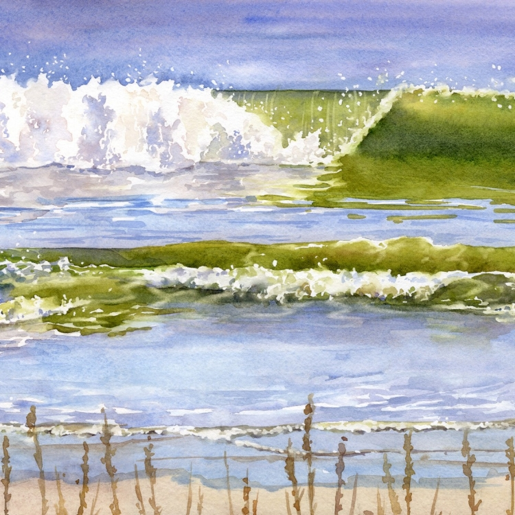 """South Carolina Waves"" Watercolor by Lorraine Watry"