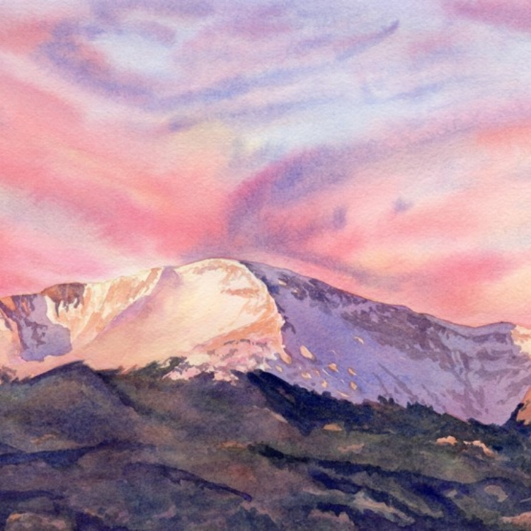 """Spectacular Sunrise"" Watercolor by Lorraine Watry"