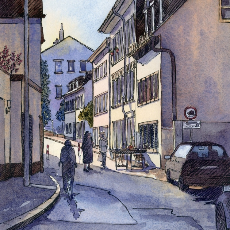 """Early Morning Trier, Germany"" watercolor by Lorraine Watry"