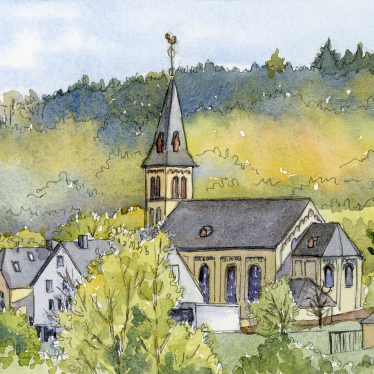 """Luxembourg Village"" watercolor by Lorraine Watry"