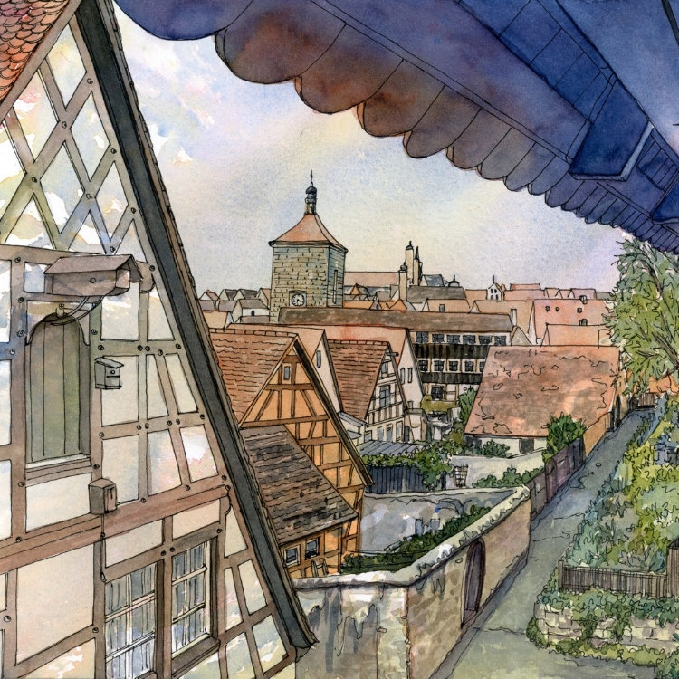 """Rottenburg Rampart"" watercolor by Lorraine Watry"