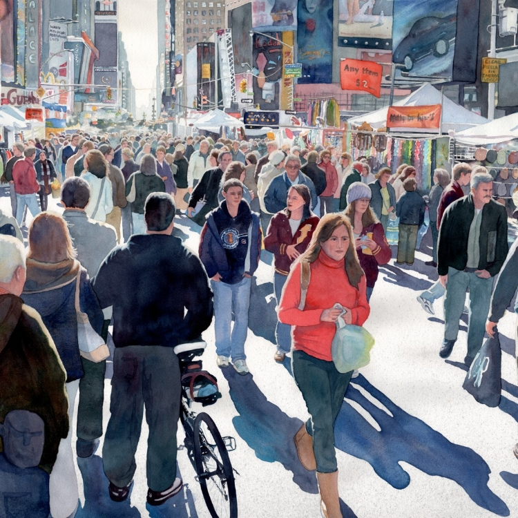 """Time Square Fair"" watercolor by Lorraine Watry"