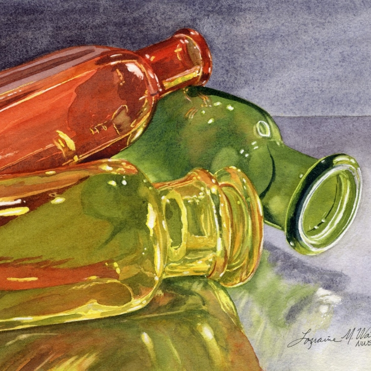 """Jeweled Jars"" watercolor by Lorraine Watry"