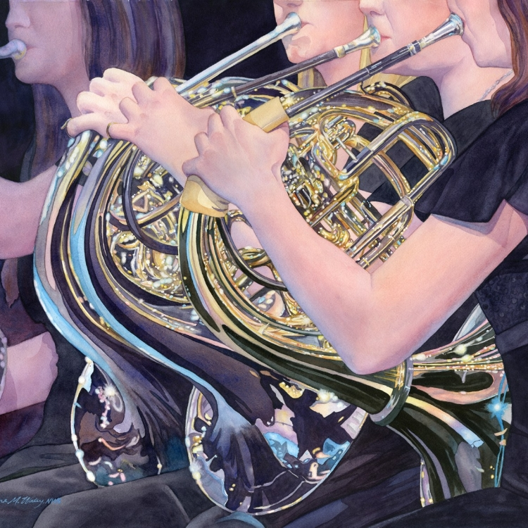 """Sonata for Horns"" watercolor by Lorraine Watry"