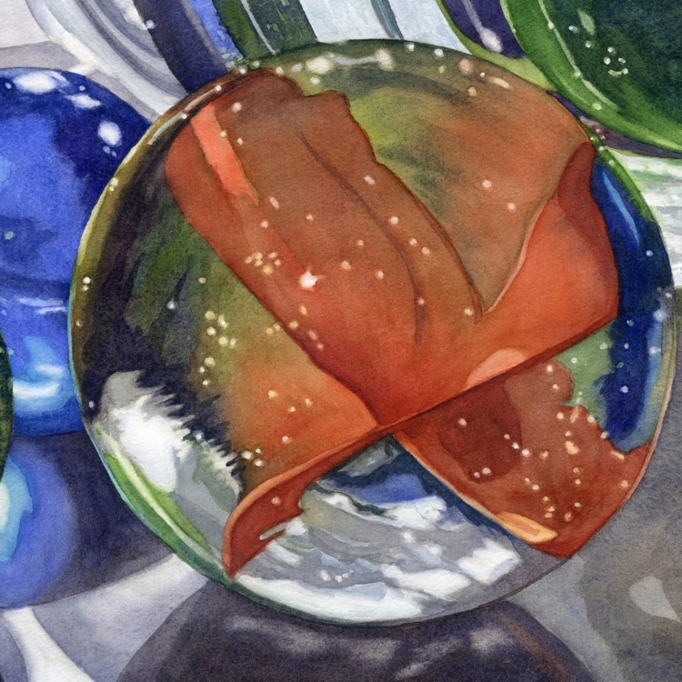 """All My Marbles"" watercolor by Lorraine Watry"