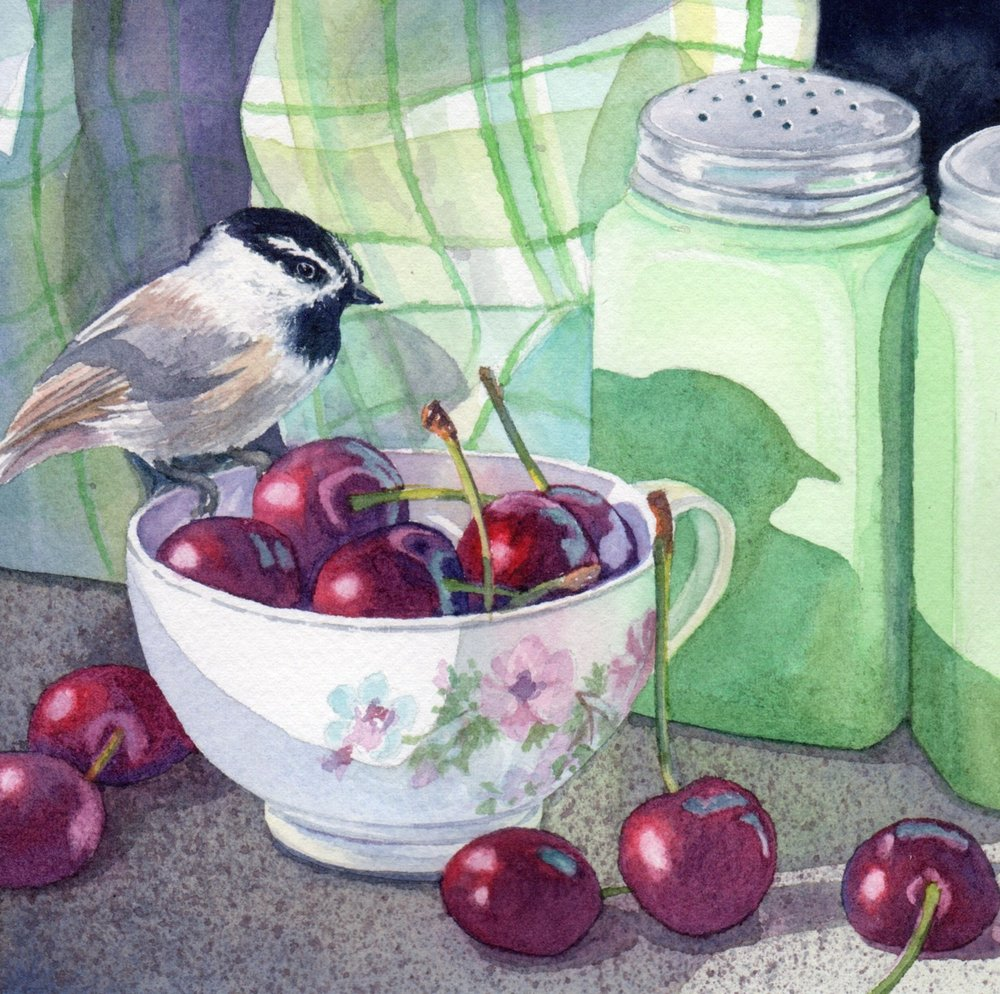 "SOLD ""Day 1 Chickadee China and Cherries"" watercolor by Lorraine Watry"